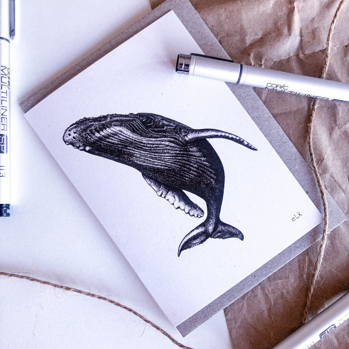 Hand drawn black and white spyhop whale greeting card by elk draws