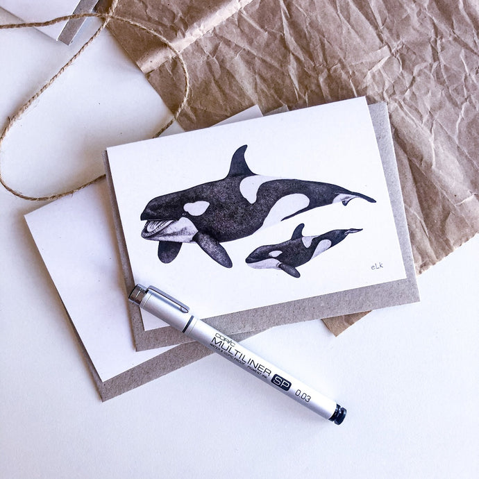 elk draws orca hand drawn greeting card