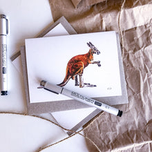 Load image into Gallery viewer, Hand drawn kangaroo greeting card on recycled paper elk draws