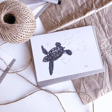 Load image into Gallery viewer, Hand drawn black and white turtle hatchling greeting card by elk draws