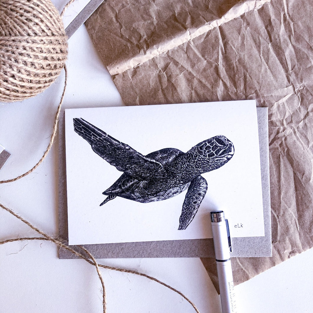 hand drawn black and white green turtle greeting card