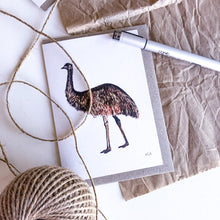 Load image into Gallery viewer, elk draws emu hand drawn greeting card on recycled paper