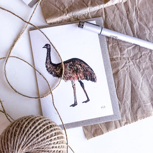 elk draws emu hand drawn greeting card on recycled paper