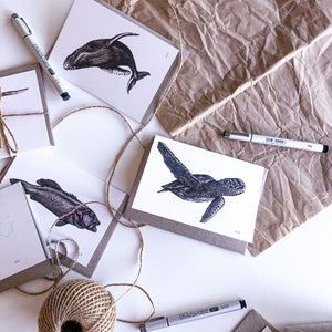 Hand drawn sea creatures black and white postcards by elk draws