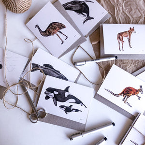 Hand drawn black and white animal greeting card by elk draws