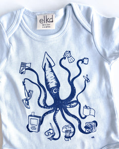 elk draws squid hand drawn baby onesie