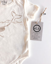 Load image into Gallery viewer, elk draws baby whale hand drawn baby onesie
