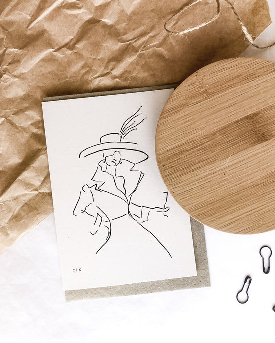 She is elegance 100% post consumer waste recycled greeting card with elk draws line art design