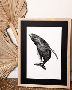Spyhop whale print styled with dried palms in modern palms