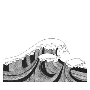 swell ocean wave hand drawn print