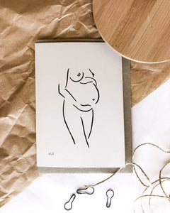 100% post consumer recycled waste greeting card with nude art by elk draws on the front of a pregnant woman expecting a bub