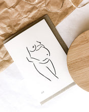 Load image into Gallery viewer, 100% post consumer recycled waste greeting card with nude art by elk draws on the front of a pregnant woman expecting a bub