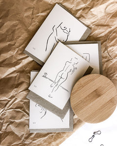 bundle of four recycled gift cards with elk draws nude line art