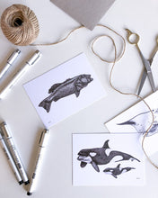 Load image into Gallery viewer, hand drawn black and white coral trout and orca postcards by elk draws