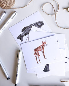 elk draws dingo postcard on recycled paper