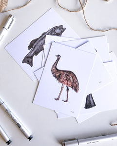 hand drawn coloured emu postcard on recycled paper by elk draws