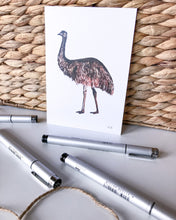 Load image into Gallery viewer, hand drawn emu postcard on recycled paper by elk draws