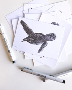 green sea turtle postcard recycled paper