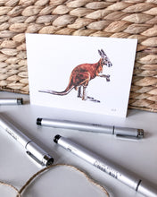 Load image into Gallery viewer, elk draws kangaroo fine art drawing postcard