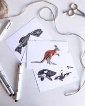 Load image into Gallery viewer, elk draws animal hand drawn postcards