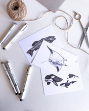 Load image into Gallery viewer, elk draws sea animals hand drawn postcard