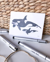 Load image into Gallery viewer, elk draws orca hand drawn postcard