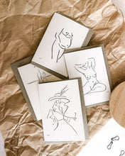 Load image into Gallery viewer, bundle of four recycled gift cards with elk draws nude line art
