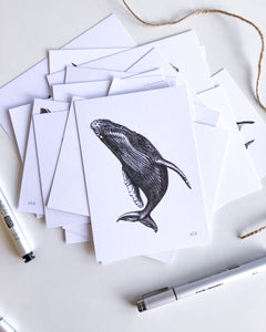 Hand drawn black and white spyhop whale postcard by elk draws