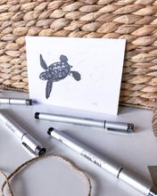 Load image into Gallery viewer, baby turtle postcard recycled paper by elk draws