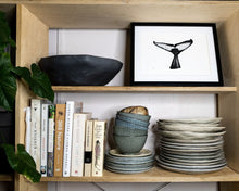 Load image into Gallery viewer, whale tail fluke with plates in modern scandinavian kitchen