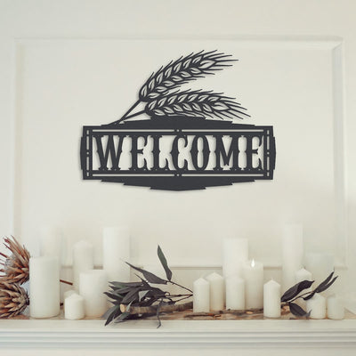 WHEAT WELCOME SIGN