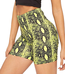 High Rise Biker Shorts- Snakeskin