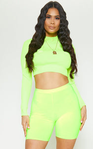 High Rise Biker Shorts-Neon Green
