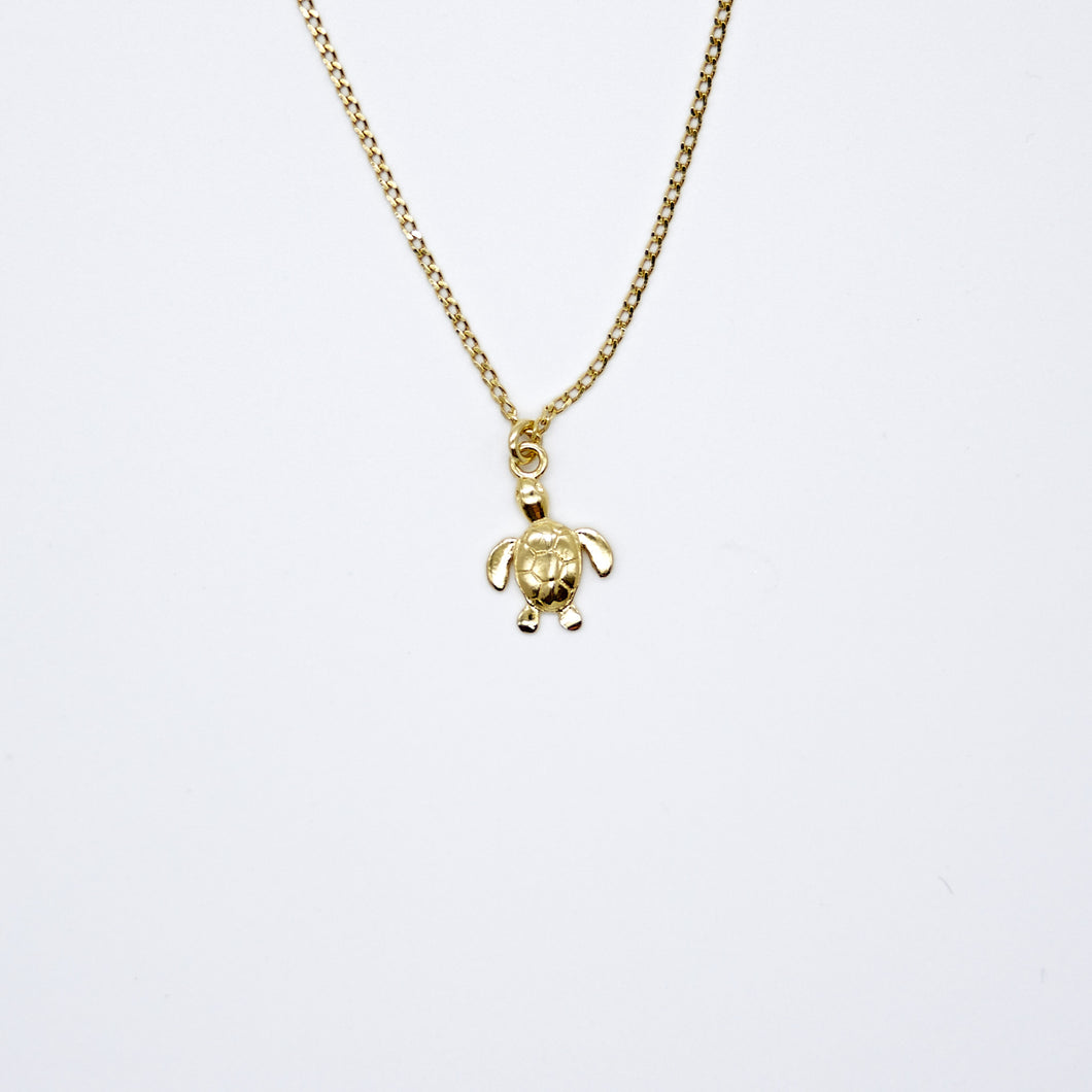 Turtle Necklace 24k Gold Plated Sterling Silver