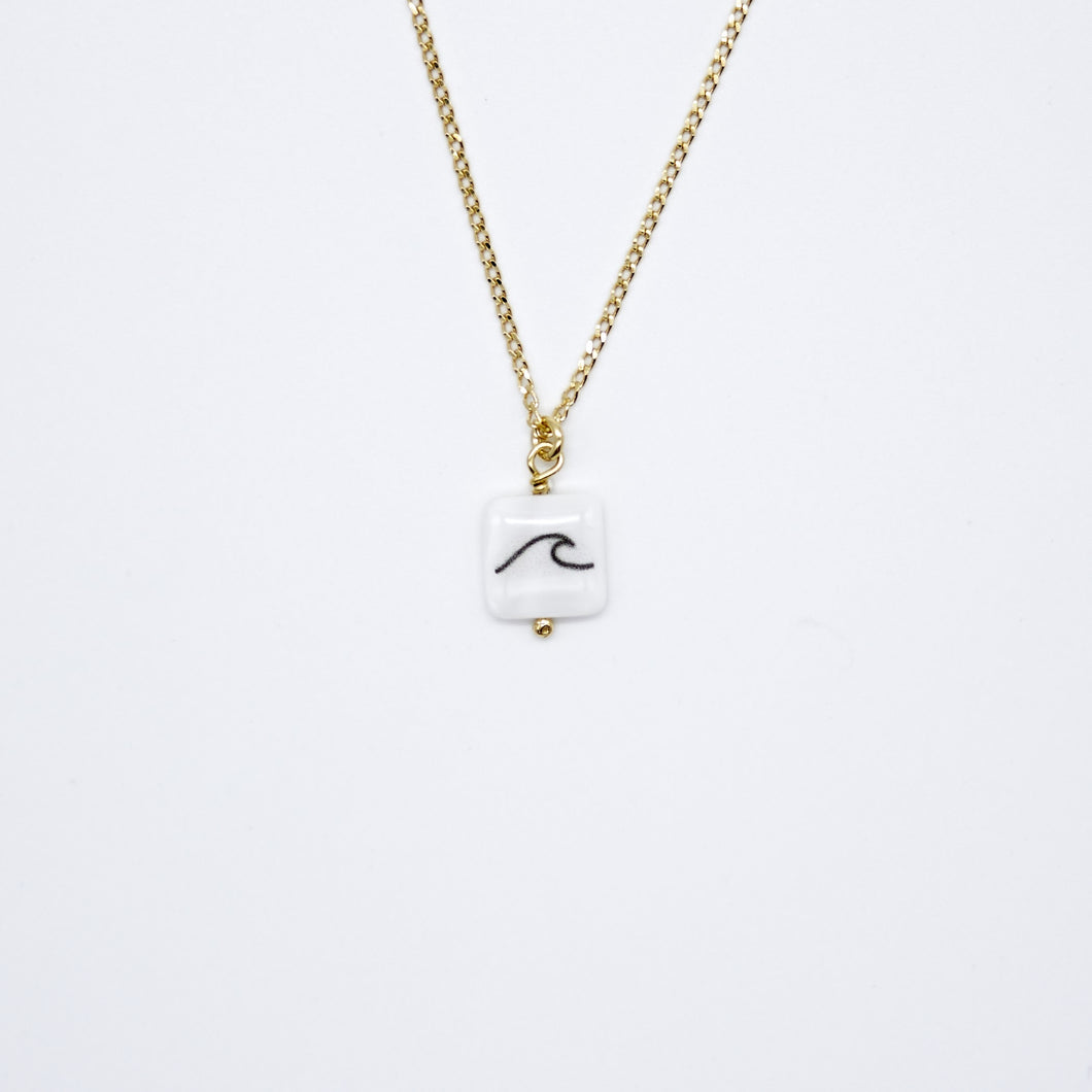 Square Wave 24k Gold plated necklace