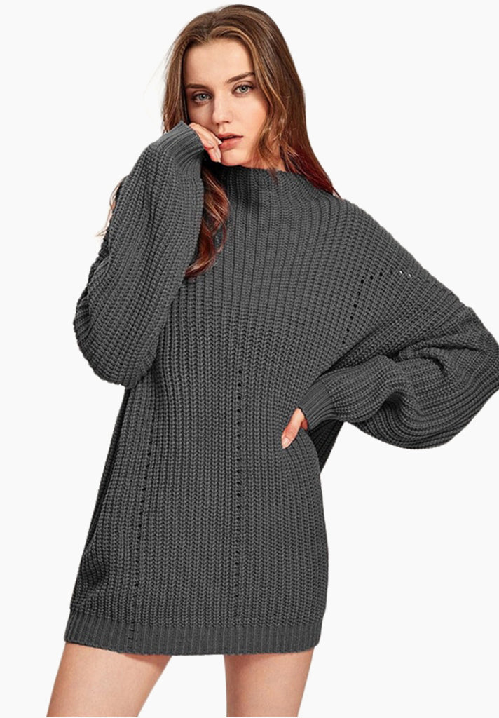 2c875d13fbf0 Exaggerated Sleeve Ribbed Sweater - Loziy.com