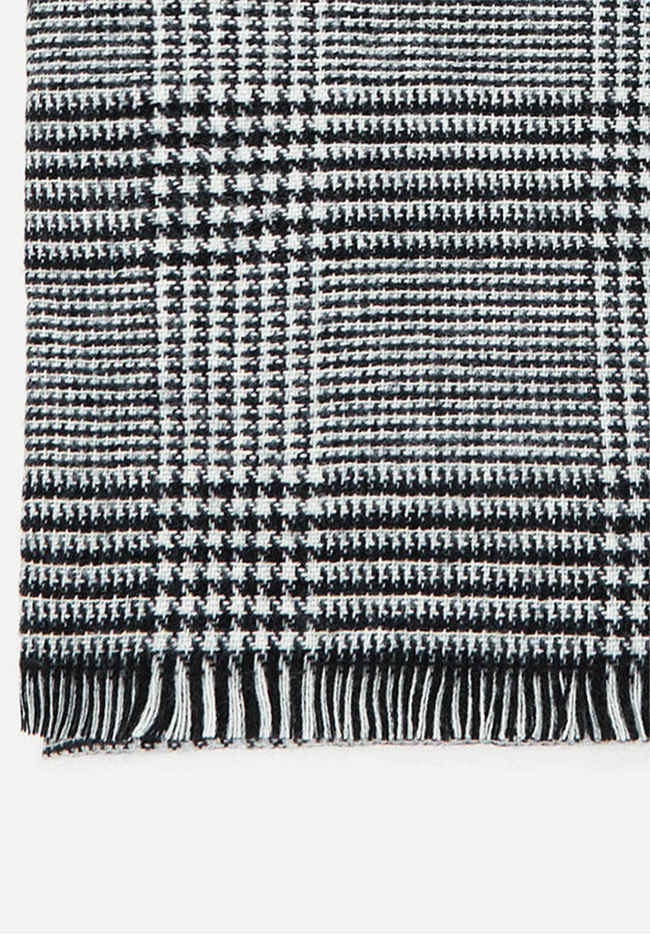 Frayed Trim Check Scarf Loziy