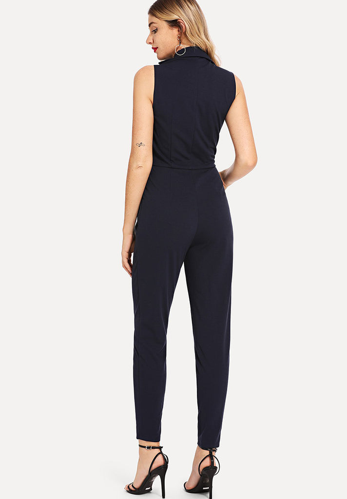 Double Button Plain Jumpsuit - Loziy.com