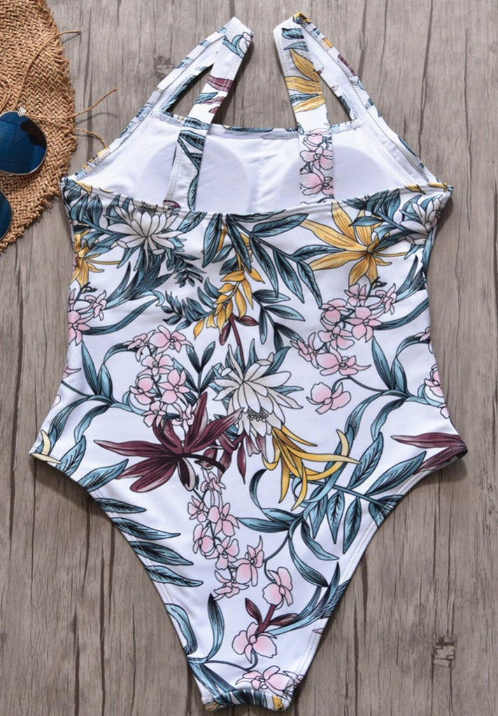 Floral Square Neck One Piece Swimsuit