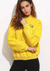 Drop Shoulder Embroidered Mock Neck Sweatshirt - Loziy.com