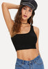 One Shoulder Solid Crop Tank Top