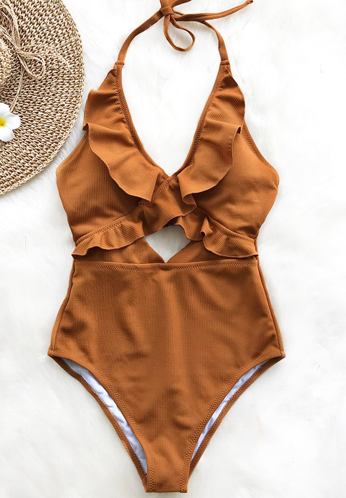 Halter Brown Cut Out One Piece Swimsuit - Loziy.com