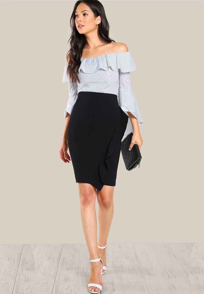 Pencil High Waist Ruffle Skirt