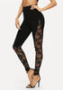 Sheer Floral Lace Insert Skinny Leggings