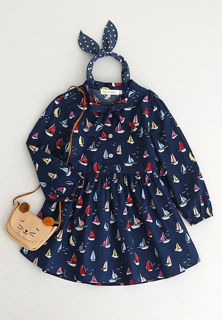 Boat Print Princess Dress - Loziy.com
