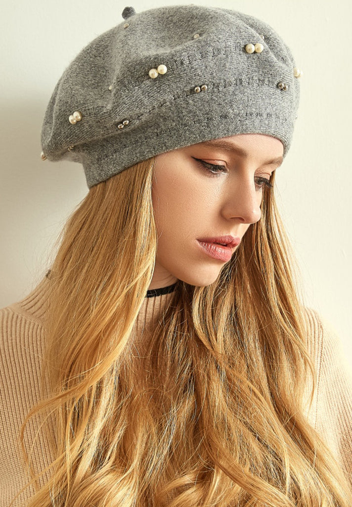 Wool Knitted Solid Beret