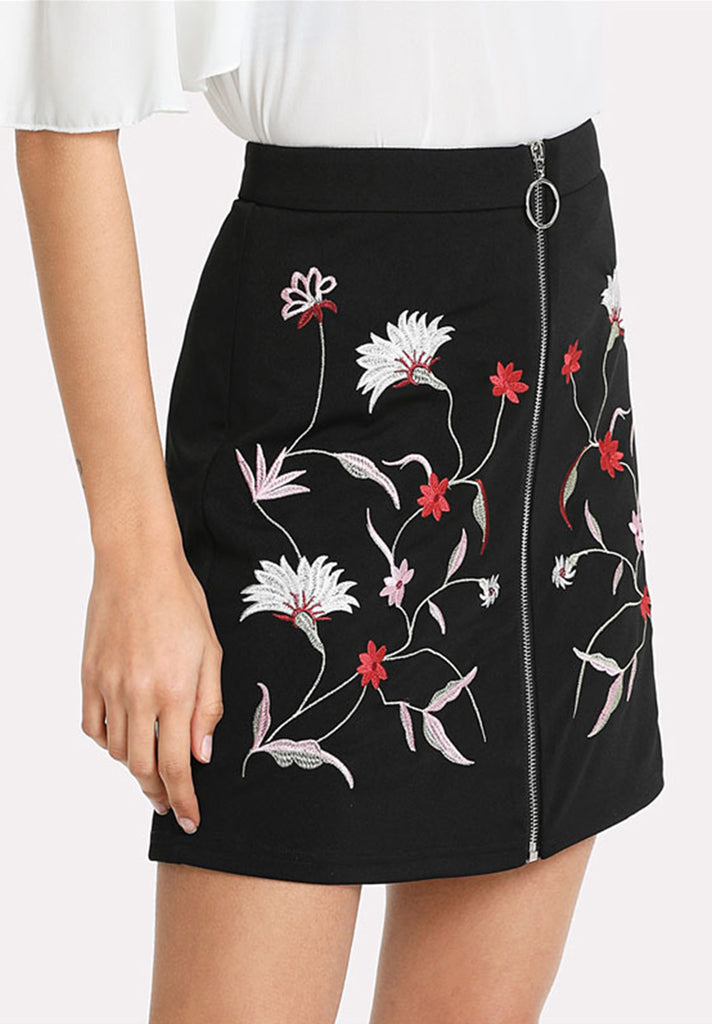 Botanical Floral Embroidered Zipper Up Skirt - Loziy.com