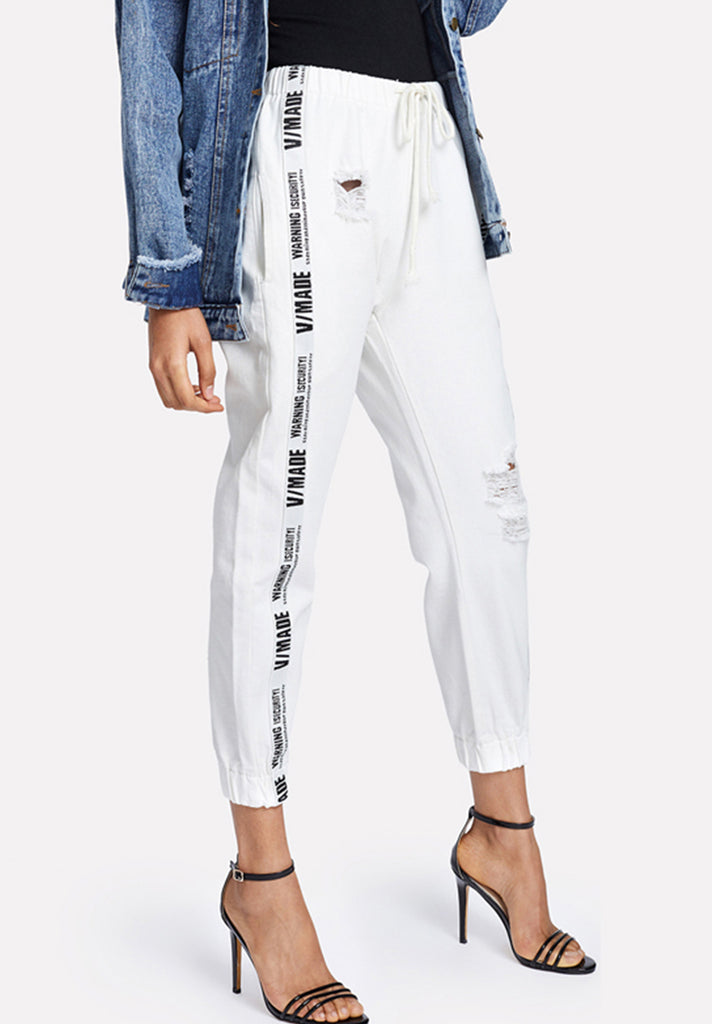 Ripped-Drawstring-Ribbon-Letter-Jeans