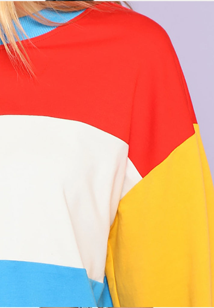 Multicolor Casual Preppy Colorblock Sweatshirt - Loziy.com