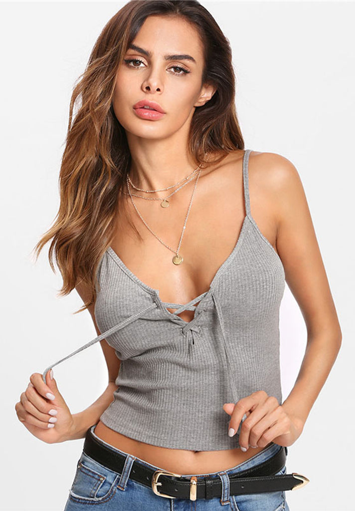 Lace Up Ribbed Cami Top - Loziy.com